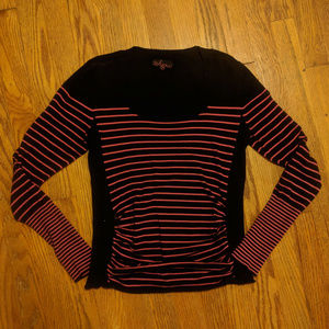 Black with pink stripes ruched sweater